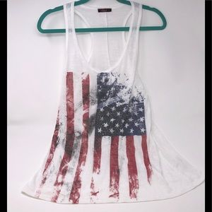 4TH of JULY Bedazzled White Tank Top-Size Large